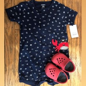 Carters 12 mo one piece & Red Crocs size 5